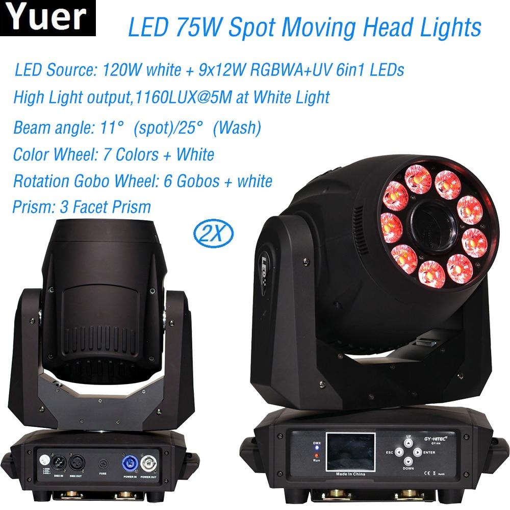 Flightcase Pack NEW 9x12W RGBWA UV Spot Wash 75w Led Moving Head Spot Wash Light Wedding Party Disco KTV Bar Club DJ Stage Light