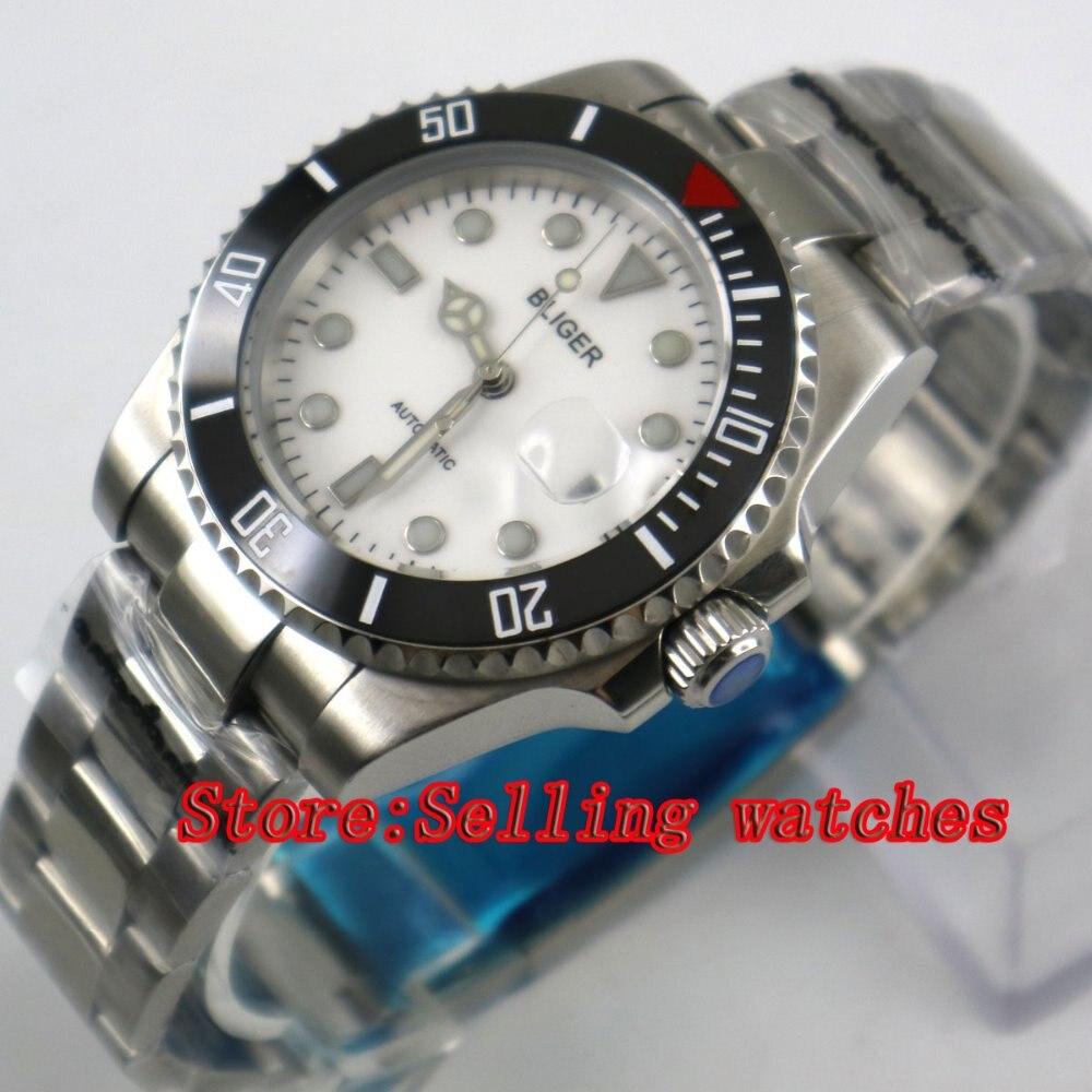 лучшая цена Bliger 40mm white dial luminous saphire glass Ceramic Bezel Automatic movement men's watch men