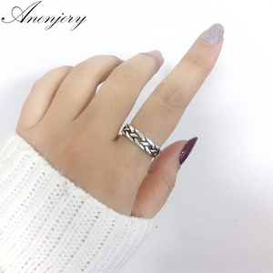 Anenjery Vintage Personality Ethnic Wind Thai Silver Weaving Index Tail Ring For Men Women 925 Sterling Silver Ring S-R360(China)