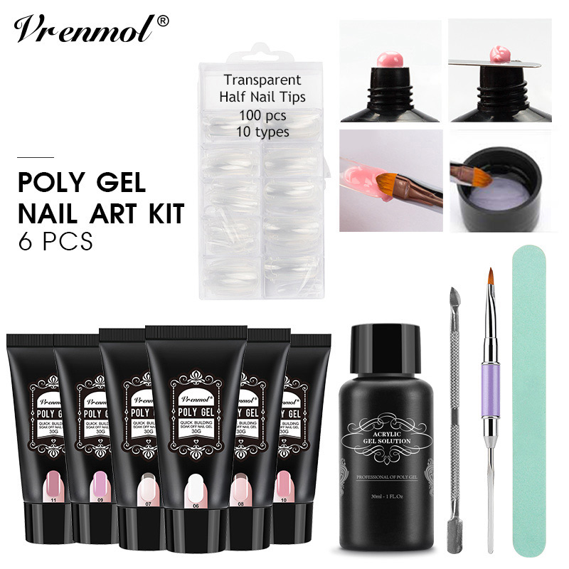 Vrenmol 11 pcs Poly Gel Nail Set Silp Solution Poly Gel Kit D'alcool Extension Camouflage Nail Double Tête Brosses Stylo