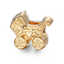 free shipping 1pc gold baby carriage european big hole bead CHARM Fits European Charm Bracelets A019(China)