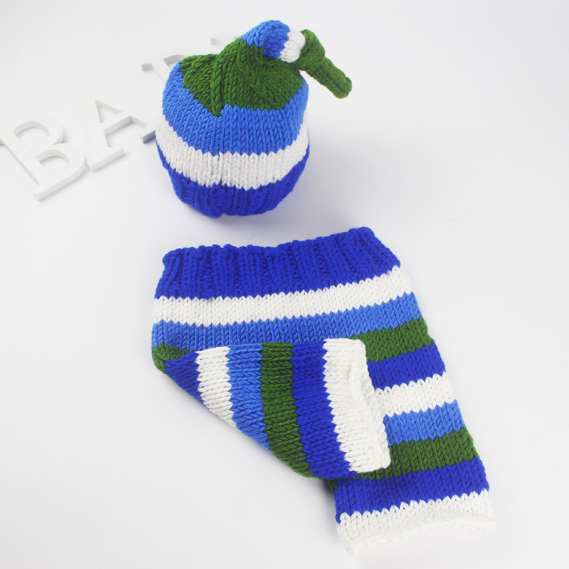 Baby photography props newborn crochet costume set infant beanie+pants baby photo shoot handmade knit