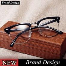 2608975ba56 2018 Classic Rivet Half Frames Eyeglasses Vintage Retro Eye Glasses Frame  Men Women Clear Spectacle Frame Eyewear oculos de grau