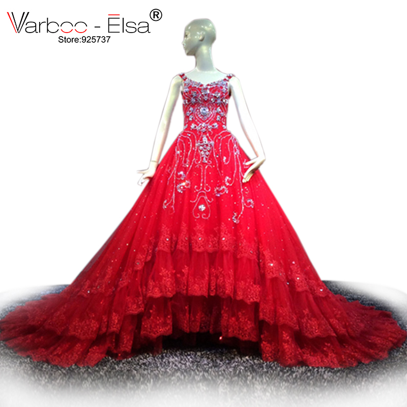 VARBOO_ELSA Red Lace Wedding Dress Crystal Beading Ball Gown Wedding Dress 2017 vestido de noiva Royal Train Bridal Gown V-neck