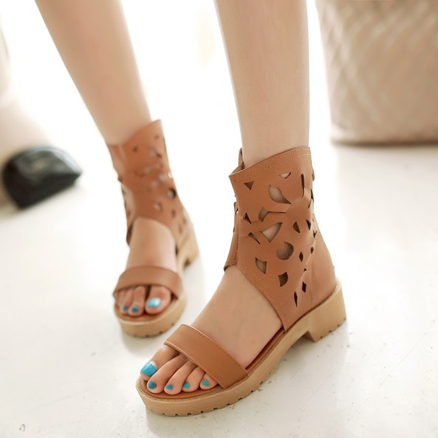 f4af8715525 Women fashion cut out casual girl beach sandals flat beige girl shoes high  top sandals peep toe