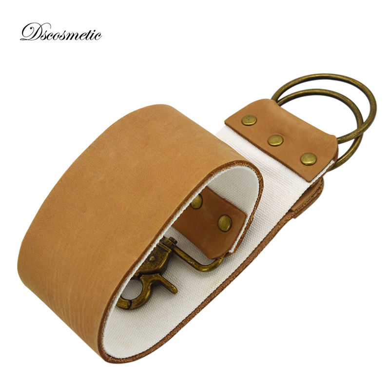 Professional Leather Shaving Strop Cowhide And Canvas Straight Cut Sharpening Strop Belt For Barber Shaving Tool