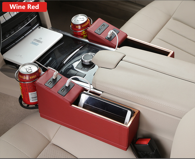 Universal Car Styling PU Leather 4 USB Car Charge Seat Gap Creative Storage Box Organizer Cup Drink Holder Accept Drop Shipping