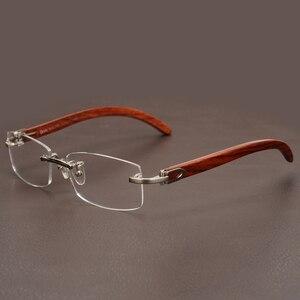 Image 3 - リムレス木製ゴールドメガネフレーム男性軽量光学眼鏡フレームブランドのデザイナーの処方近視眼鏡