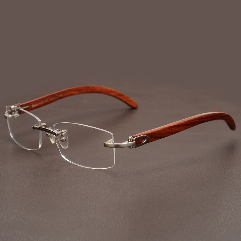 Image 3 - Rimless Wooden Gold Glasses Frame Men Light Weight Optical Rim Eyeglasses frames brand designer Prescription Myopia spectacles-in Men's Eyewear Frames from Apparel Accessories on AliExpress