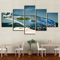 Home Decor Canvas Pictures Wall Art 5 Pieces Ocean World In A Wishing Bottle Paintings Modular HD Prints Beach Sailboat Poster