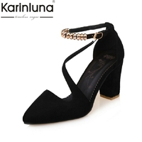 KARINLUNA Big Size 30 45 Pointed Toe Women Sandals Elegant Square High Heels Ankle Strap Party
