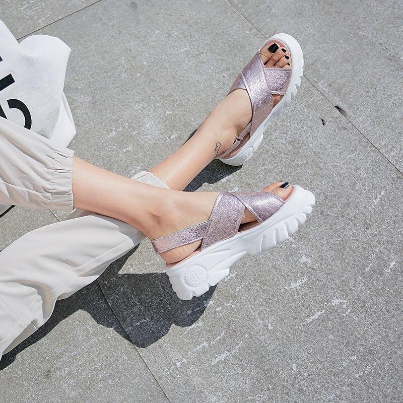 DORATASIA ขนาดใหญ่ใหม่ขนาด 34 42 ของแท้หนังสุภาพสตรีรองเท้าส้นสูงแพลตฟอร์มรองเท้ารองเท้าผู้หญิง Ol ฤดูร้อนรองเท้าแตะ-ใน รองเท้าส้นสูง จาก รองเท้า บน   3