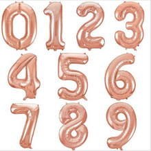 32 inch Rose Gold Digit Foil Balloons Number Air Balloon Inflatable Toys Wedding Birthday Decorations Event Party Supplies