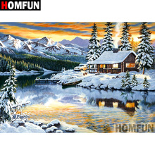 HOMFUN 5D Diamond Pattern Rhinestone Needlework Diy Painting Cross Stitch Snow scene Embroidery A07890
