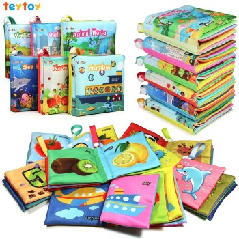 My First Soft Book,teytoy 6 PCS Baby Cloth Books Early Education Toys Activity Learn Book for Toddler, Infants