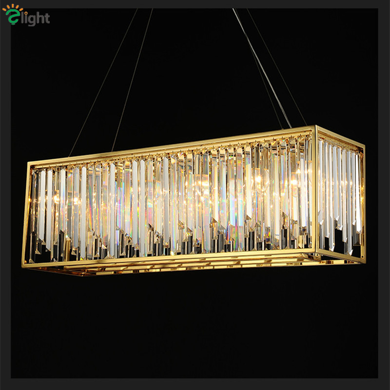 Post Modern Lustre Gold Metal K9 Crystal E14 Led Pendant Lights Dining Room Luxury Adjustable Hanging Lamp Luminarias Fixtures