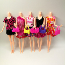 new 13 PCS = Handmade Party 5 sets Clothes Fashion Mixed style Dress + 8 pcs Bags Accessories for Barbie Doll Best Gift Girl Toy