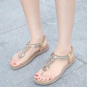 Image 4 - BEYARNEGladiator Thong Sandals 2019 Women Summer Platform Flats Faux Rhinestone Slip On Solid Creepers Casual ShoesE667