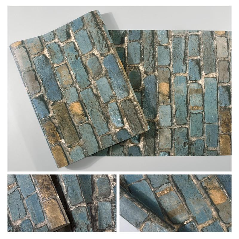Купить с кэшбэком Chinese Brick Wall Papers Home Decor Vintage Blue Red Wallpaper Roll for Restuarant Barber Shop papel mural carta da parati