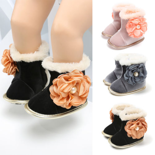 Toddler Baby Girl Snow Boots Winter Booties Floral Cute Warm Infant Newborn Party Shoes Boots 0-18M