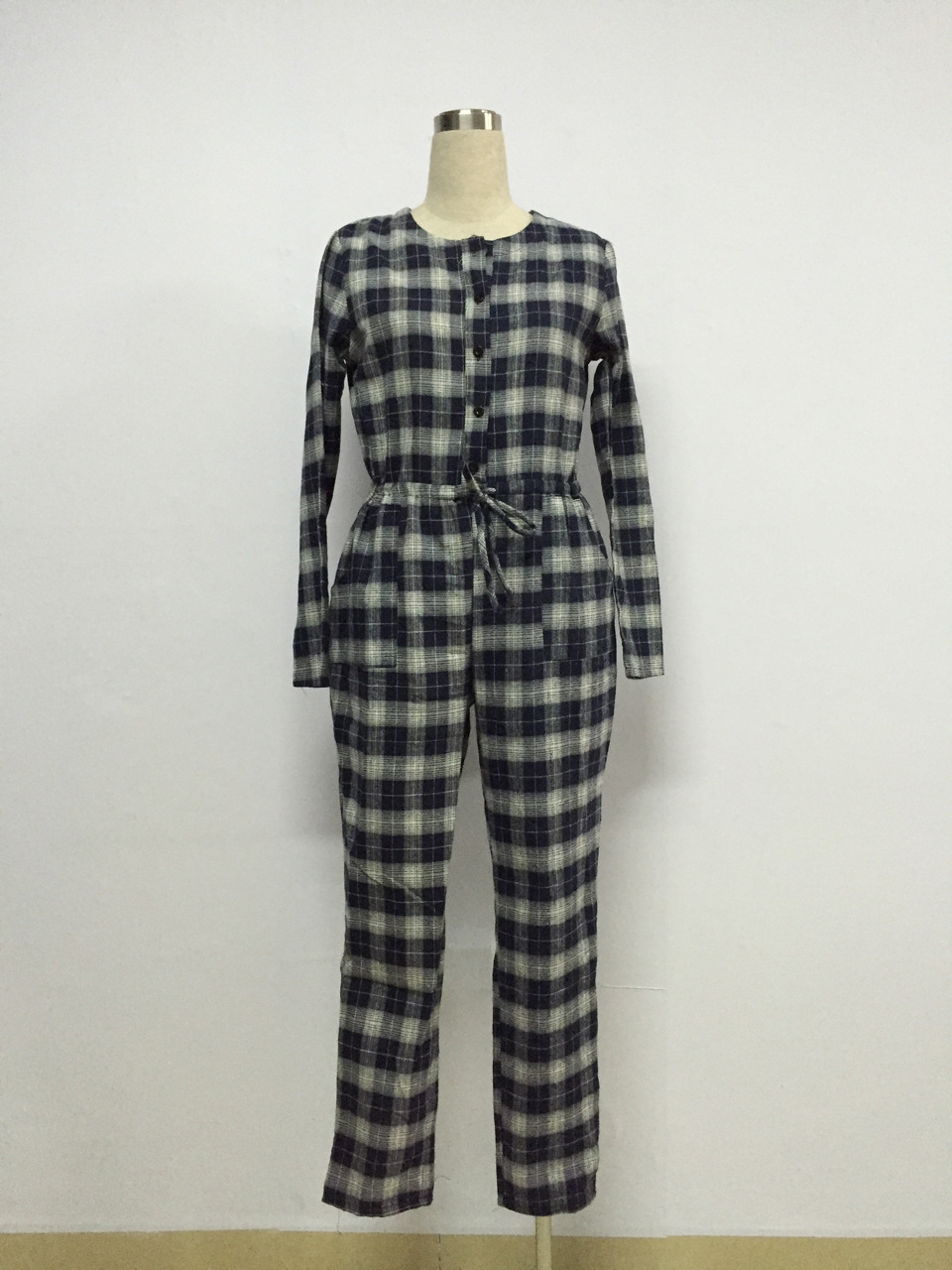 Echione Plus Size Rompers Womens Jumpsuit Blouses Plaid Black and White Sexy Bodycon Playsuit Flare Sleeves Long Pants Jumpsuits