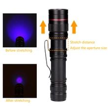 Zoomable Led UV Flashlight Torch Ultra Violet Light UV 395nm Purple Flashlight Lamp AA Battery For Marker Checker Detection
