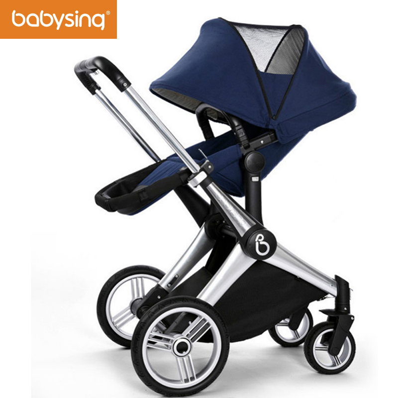 Babysing Luxury Baby Stroller Foldable High View Reversible Seat Baby Pram Off Road Model Shockproof Baby Pushchair babysing high view baby stroller anti shock portable lightweight stroller easy fold pushchair travel system baby strolly