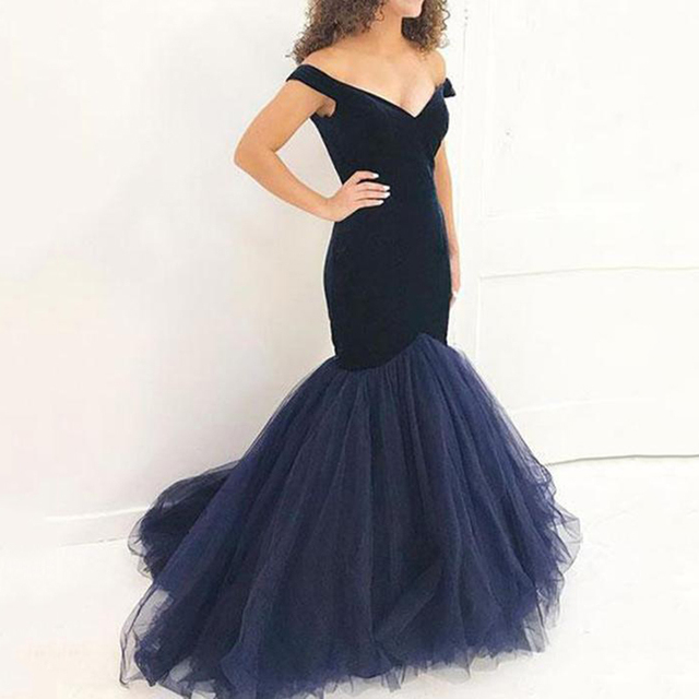 09128db7e45 Sexy V-neck Navy Blue Velvet Mermaid Bridesmaid Dresses 2018 Simple Tulle  Floor Length Party Gowns Robe De Soiree Prom Dress