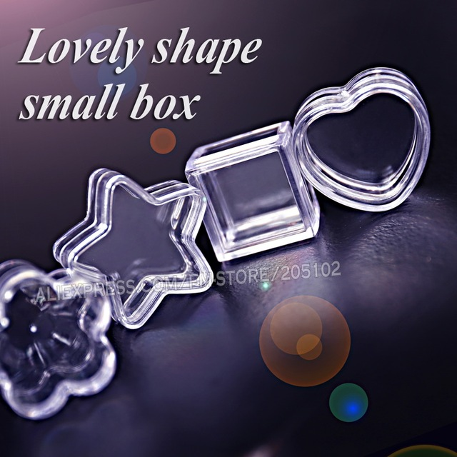 Nail Art Tiny Box acrylic clear container Star Square Round Heart for DIY Perfume Accessory Jewelry beads plastic storage case