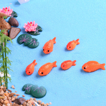 Artificial Mini Sea Red Fish Model Resin Figurines Fairy Garden