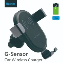 Bestins Car Mount Qi Wireless Charger For iPhone X 8 Quick Charge Fast Charging Pad Holder Stand Samsung Tablet