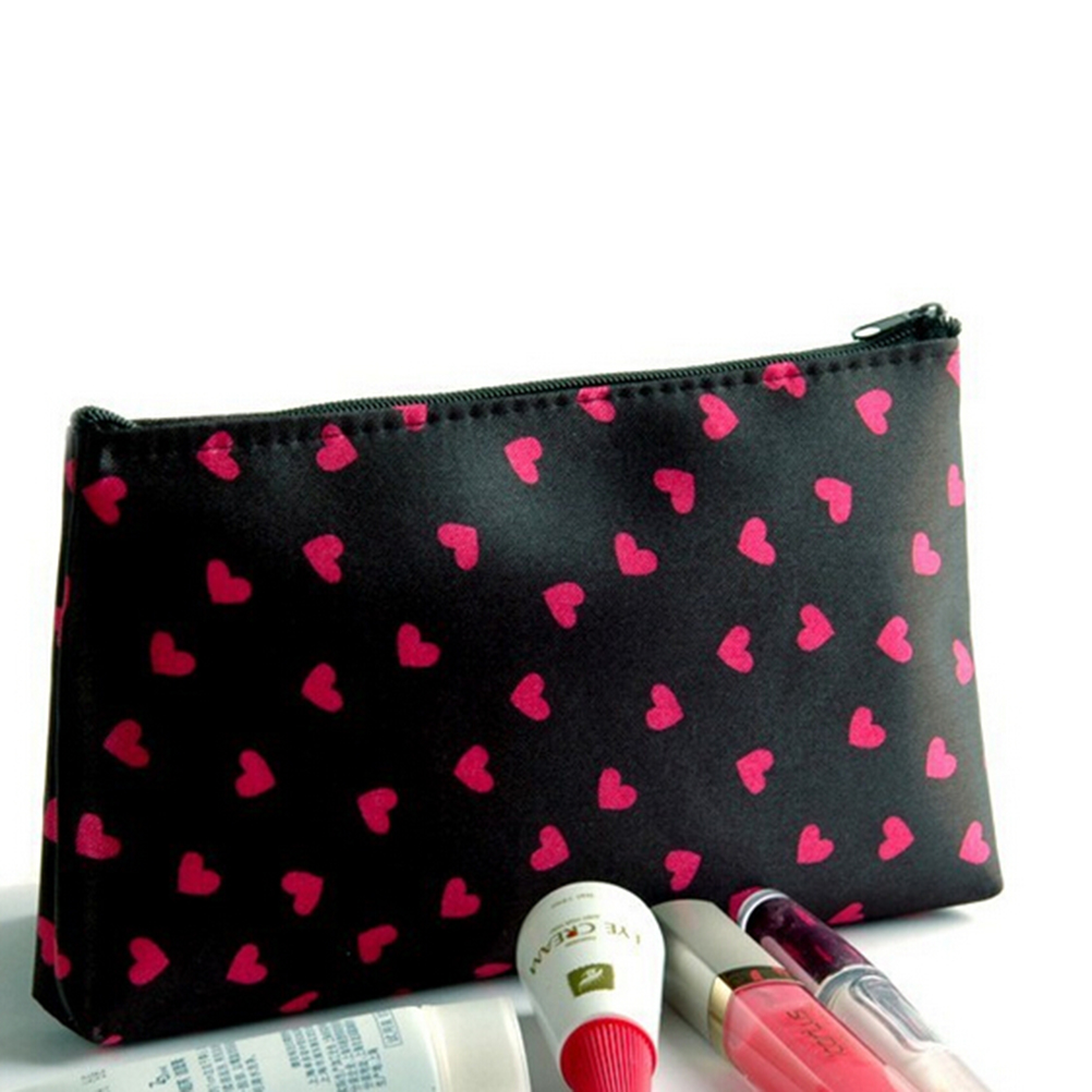 Cosmetic Case Heart Printed Polyester Cosmetic Bag 18*10*2.5cm Long Makeup Case Female Zipper Pencil Bag