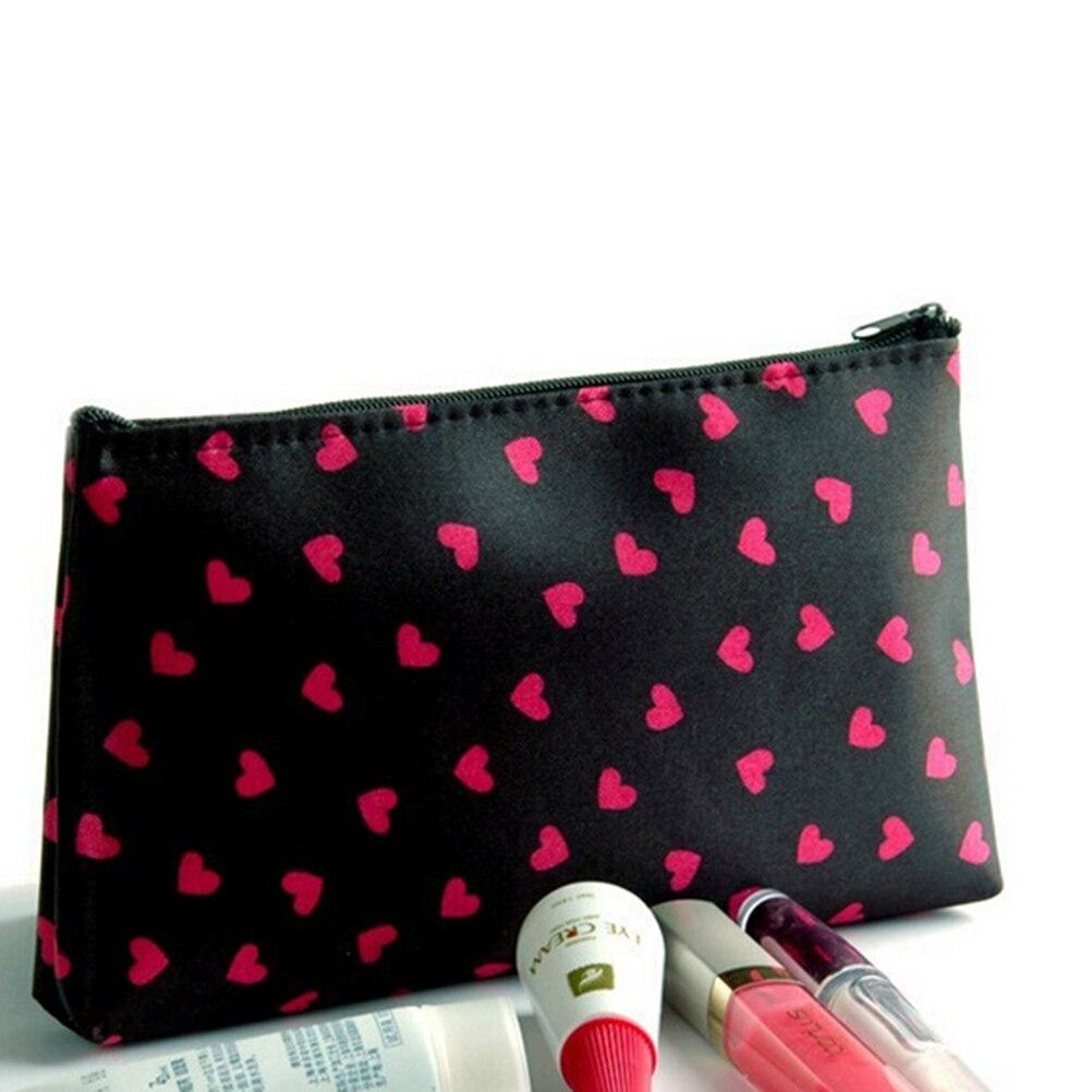 Cosmetic Case Heart Printed Polyester Cosmetic Bag 18*10*2.5cm Long Makeup Case Female Zipper Pencil Bag