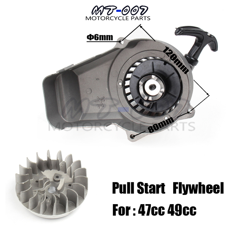 Aluminum Alloy Pull Start + Flywheel for 47cc 49cc Mini Moto Scooter Kid Dirt Pocket Bike Quad ATV Minimoto Motorcycle throttle hand grips brake levers throttle housing set for goped gas scooter 43cc 47cc 49cc minimoto bicycle parts