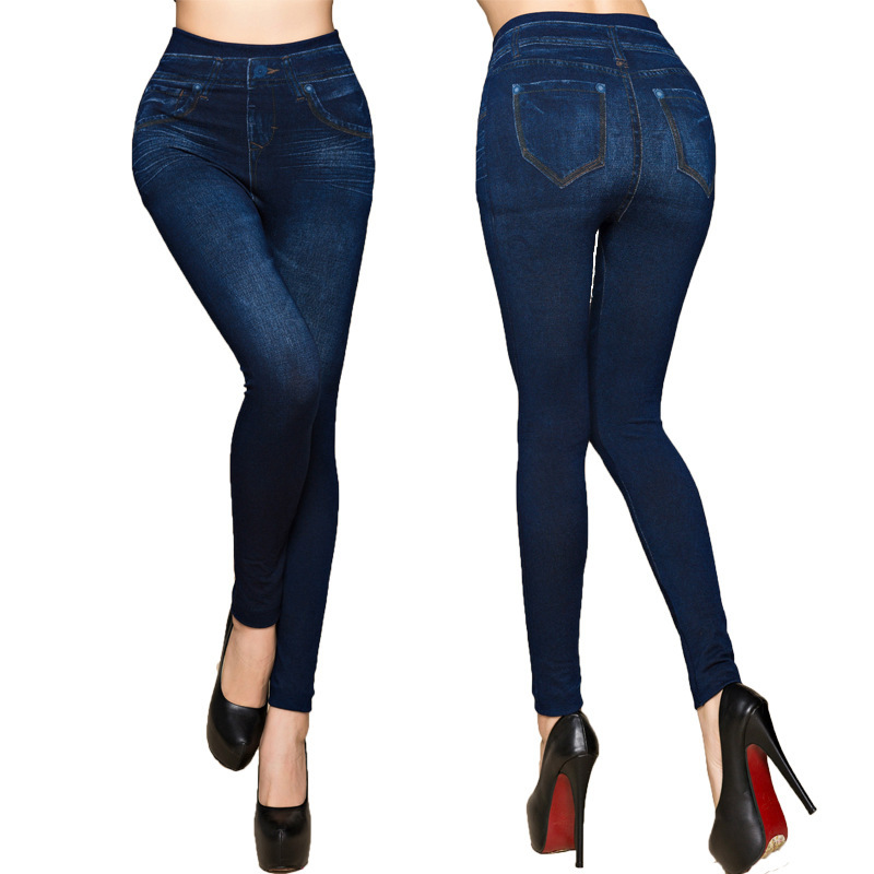 Fashion Slim Women Leggings Plus size Faux Denim Jeans Leggings Long Pocket Printing Summer Leggings Casual Pencil Pants 1