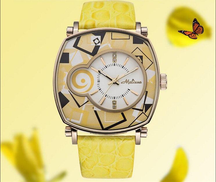 Reloj de pulsera de cuero neutro para mujer con patrones geométricos de nuevo diseñador de melisa Vintage cuadrado Feminino Montre F12190 - 2