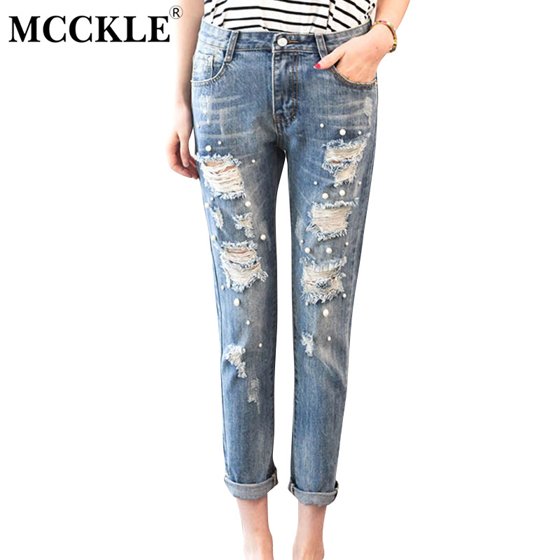 MCCKLE Pants Sexy Ripped Jeans for Women Holes Summer