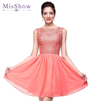 2015 Cheap Price A Line Lace Bodice Tull Skirt Red Homecoming Dress Short Party Prom Dress