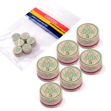 6pcs/set Cuesoul 14mm Hard Baked Pig Leather Billiard Pool Snooker Cue Tips, High Quality and Free Shipping