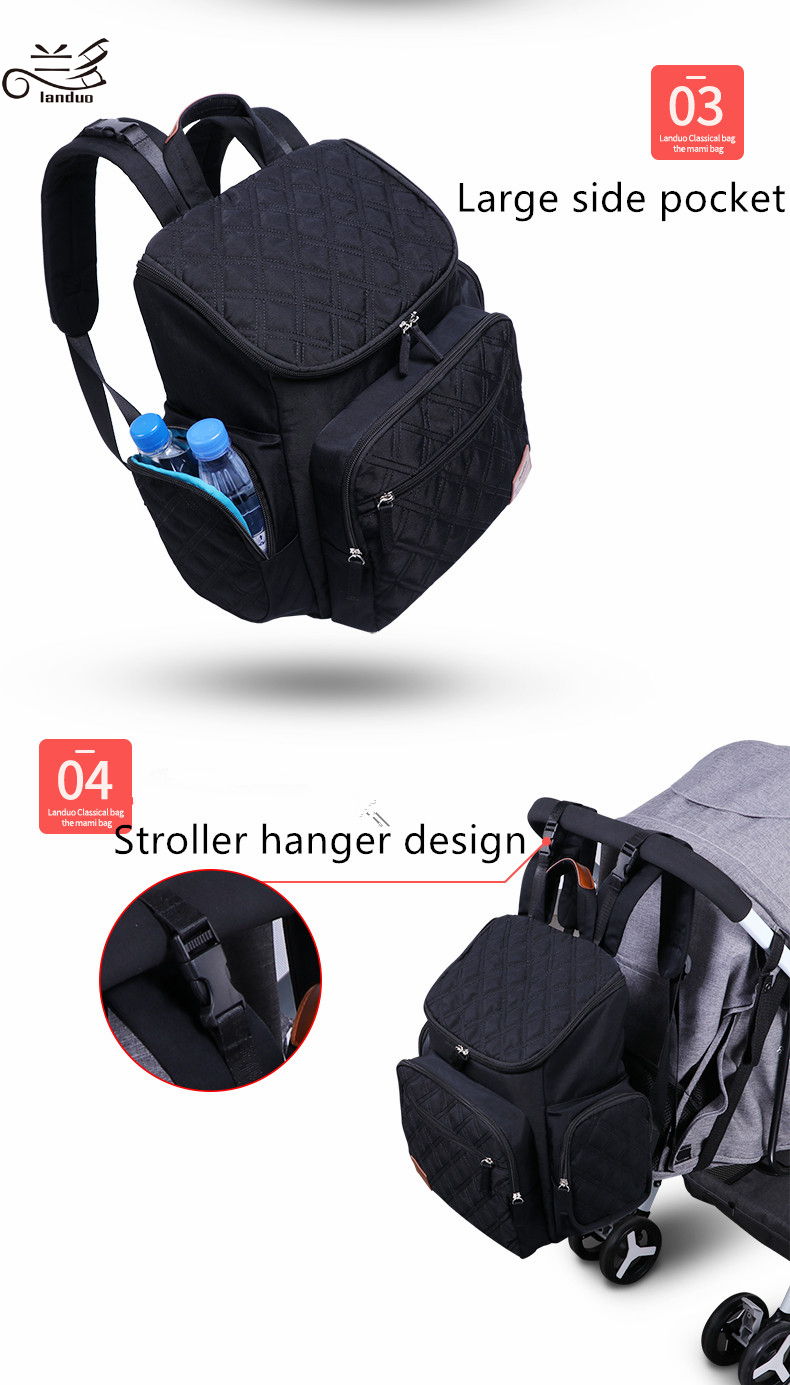 HTB13LA4ykyWBuNjy0Fpq6yssXXam Authentic LAND Mommy Diaper Bags Mother Large Capacity Travel Nappy Backpacks with anti-loss zipper Baby Nursing Bags dropship