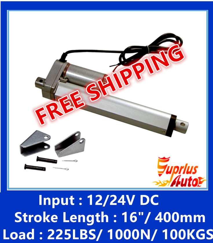 FREE SHIPPING !load linear actuators with mounting brackets,Input 12/24V DC,Stroke Length 16