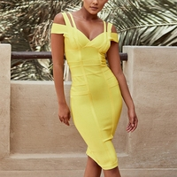 Ocstrade Womens Bandage Dresses High Quality New Products Best Selling 2019 Summer Yellow Off Shoulder Sexy Yellow Bandage Dress
