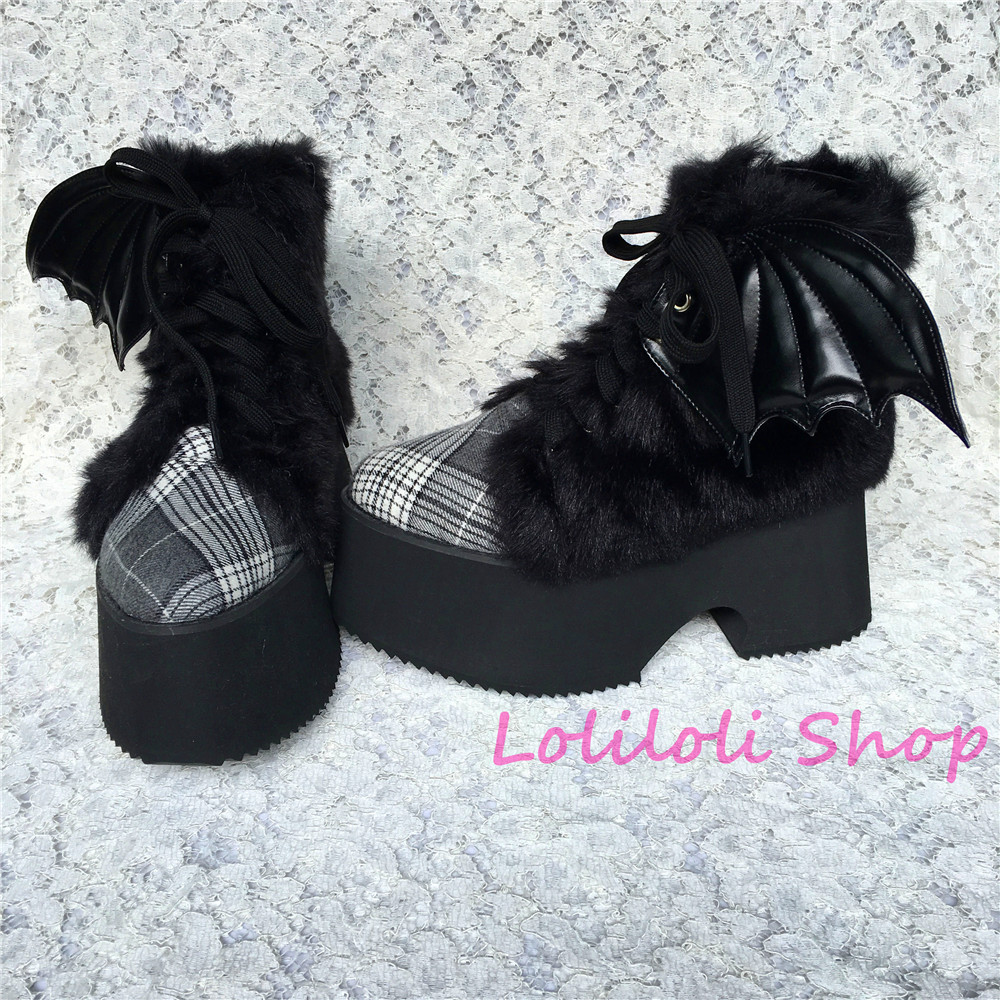 Princess sweet gothic lolita shoes Loliloliyoyo antaina shoes custom black flock skin with wings checked thick heel shoes 5221s