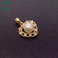 Caimao Antique Beautiful Round Pearl 10k Yellow Gold Earring Anniversary Pendant Free shipping