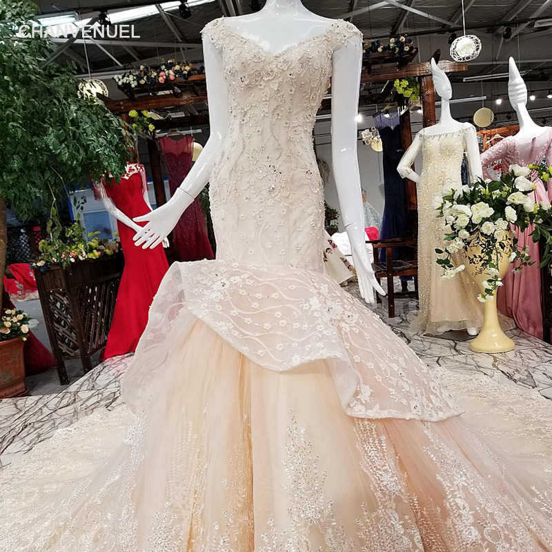 Weddings & Events Steady Ls31500 Mermaid Champagne Evening Dress V-neck Cap Sleeve Lace Up V Back Party Dress Forelegant Girl With Flowers From China