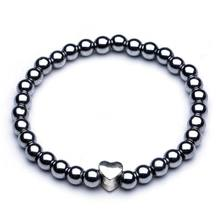 Black Women 6/8/10 Cool Magnetic Hematite Bead Bracelet Stone Therapy Health Care Magnet Hematite Bracelet Men's Jewelry(China)