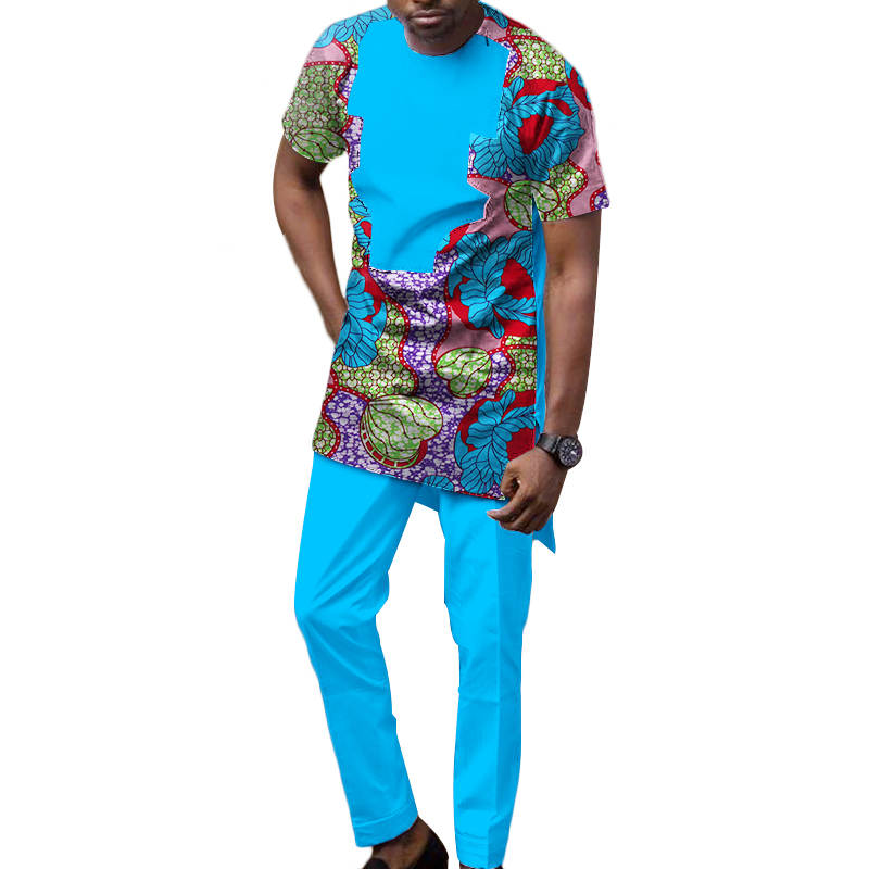 Dashiki hommes vêtements africains Applique Top Tee et pantalons longs ensembles Bazin Riche vêtements africains imprimer 2 pièces pantalons ensembles WYN511