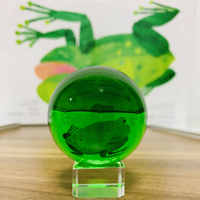 50/60# Green Crystal Glass Ball Magic Ball For Photography Paperweight Fengshui Home Office Decor Table Ornament Kid Favor Gift