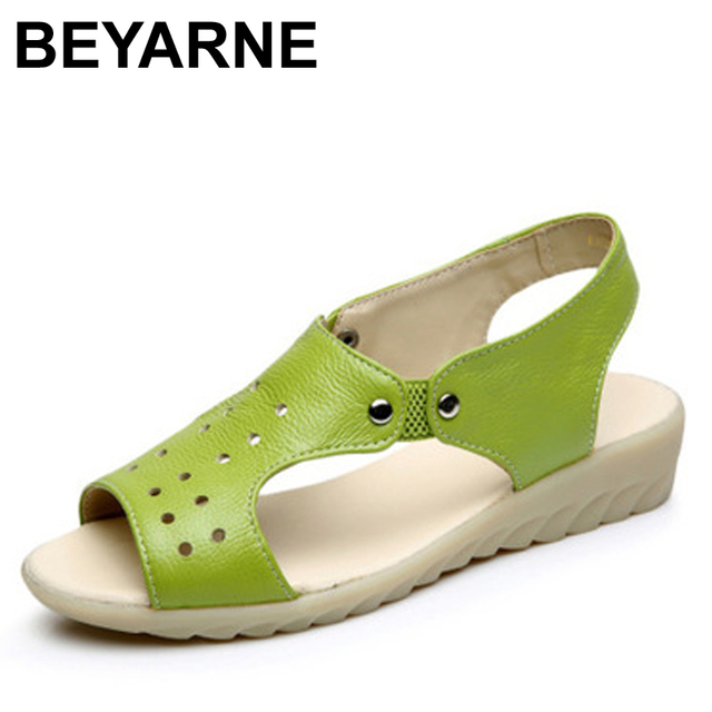 BEYARNE Cow Genuine Leather Sandals Women Flat Heel Sandals Fashion Summer Shoes Woman Sandals Summer Plus Size 43 Free Shipping