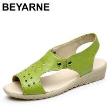 BEYARNE krowa sandały z prawdziwej skóry kobiet sandały na płaskiej podeszwie moda letnie buty sandały damskie lato Plus rozmiar 43 darmowa wysyłka